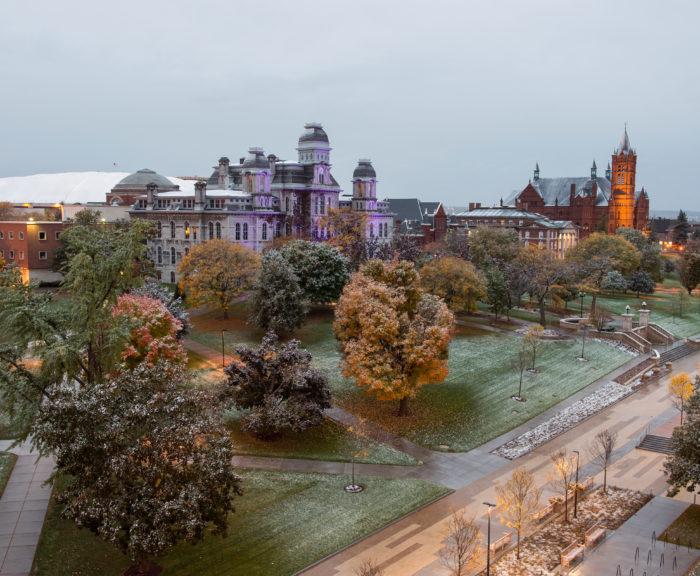 Light snow dusting on campus