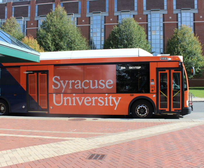 Centro bus with Syracuse University wrapping