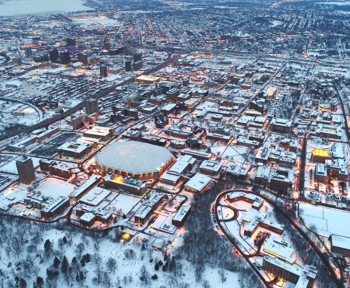 Aerial view of Syracuse University campus