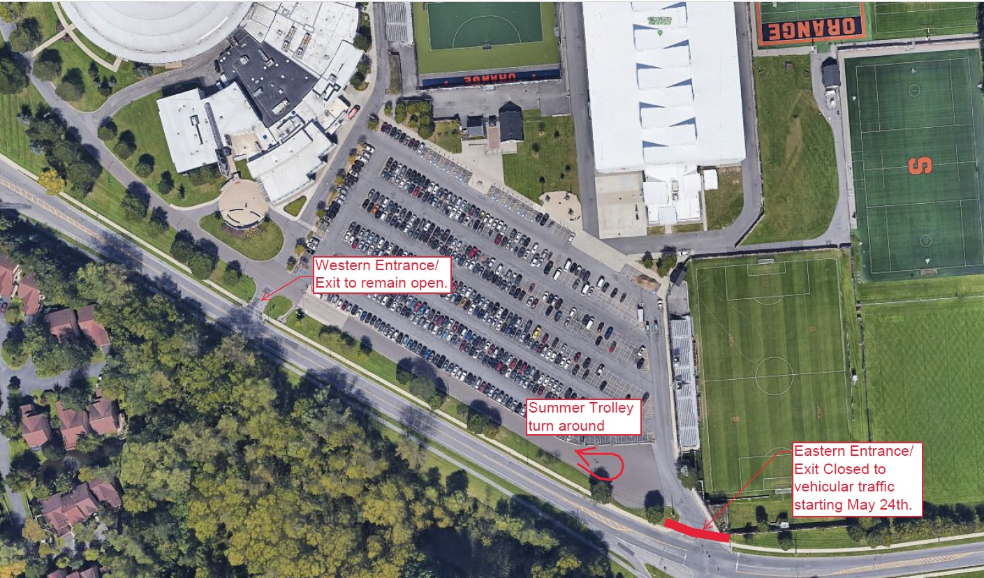 Image to show the location of the entrance closure for summer construction at Manley Field House Parking Lot